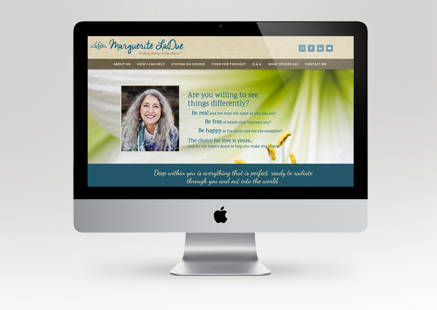 Transformational coach and speaker website home page design